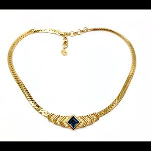 Christian Dior necklace gold with rhinestones